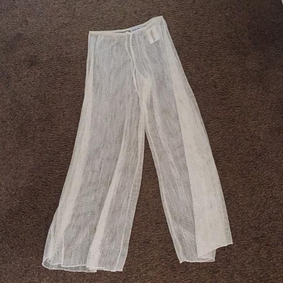83fef5e6259e80 White mesh beach pants coverup pants small